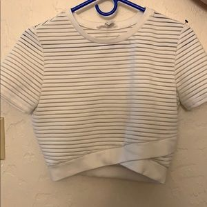 short sleeve white and clear striped crop